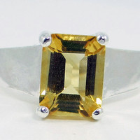 Citrine Emerald Cut Sterling Silver Ring