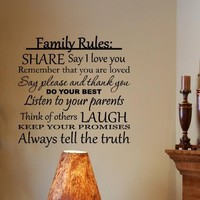 Vinylsay #0259 - Family Rules: Share, say I love you, do your best... Vinyl wall decals quotes...