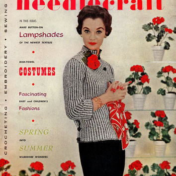 1950s Women's Vintage Fashion Dress Modern Needlecraft Magazine Pattern Booklet DIY How to Crochet Instructions Knit Blouse Purse Hat