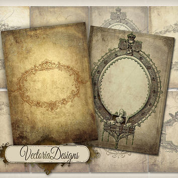 INSTANT DOWNLOAD Tattered Frames ATC vintage images digital background instant download printable collage sheet 146
