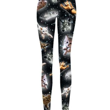 Lovely Kitty Flying Through Space Print Leggings In Multi  | Thirteen Vintage