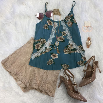 Floating By Floral Tank: Blue