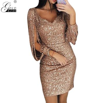Gold Hands Tassel Lantern Sleeve Dress Women Sexy V Neck Bodycon Dresses Summer Fashion Elegant Party Dress Sequined Vestidos