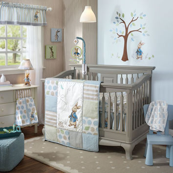 Lambs & Ivy Peter Rabbit 6 Piece Baby Nursery Crib Bedding Set w Bumper & Mobile-1 Each