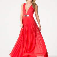 bebe Womens Red Pleated Gown Bittersweet