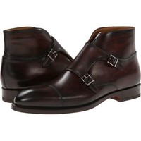 Handmade men brown monk strap Chukka leather boots, Mens leather boot