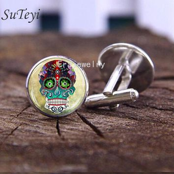 Sugar Skull Mens Cufflinks Mexican Steampunk Style Rose Hipster Skull Cuff Links High Quality Glass Dome Cufflink