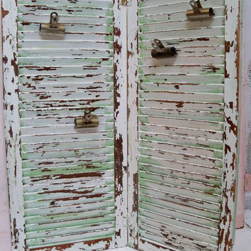 Large wood hinged shutters with 4 vintage paper clips dual recycled piece shabby chic wall or table decor Anita Spero
