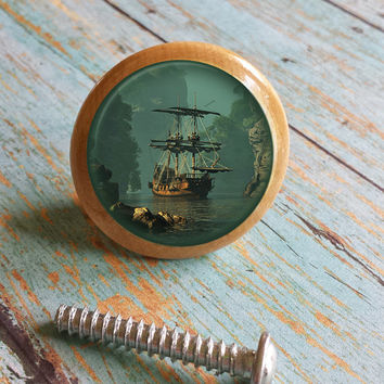 "Handmade Birch Wood Knobs Drawer Pulls, Nautical Old World Ship, Cabinet Pull Handles, 1.5"" Dresser Knobs, Made To Order"