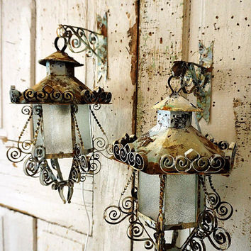 Rustic farmhouse wrought iron electric lantern lighting wall hooks 2 distressed rusty blue white wall hanging home decor anita spero design