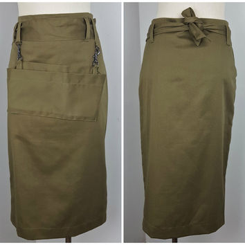 Vintage Army Green Tea Length Pencil Skirt Tie Belt with Removable Utility Pouch Women's Military Uniform Style Skirt Midi Cap Length Skirt