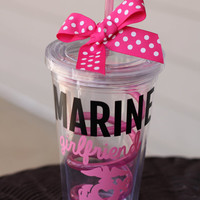 Personalized Pink Marine Girlfriend EGA with Heart Cutout 16oz Tumbler