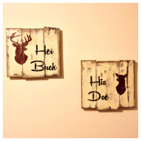 His Doe Her Buck Pallet Wood Sign, Hunting, Wooden Sign, Reclaimed Wood, Outdoors, Buck and Doe, Wedding Decor, Wedding Gift