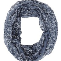Gray Bandanna Print Infinity Scarf by Charlotte Russe
