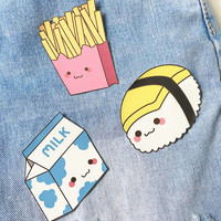 Food Patches - Iron On Patch - Cute Patches - Kawaii Patches - Hamburger Patch - Patches for Jacket - Cute Pin - Cute Badge - Cute Foods