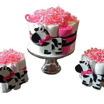 Diaper Cake Party Pack  Pink Zebra  baby shower gift by BabyBinkz