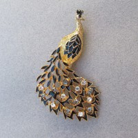 Gorgeous Signed EISENBERG Ice Vintage Enamel & Rhinestone Peacock Pin, NEW On Card!