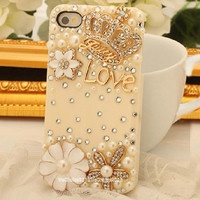 Free Phone Case & Luxury Bling Bling Crown Flower Love DIY Deco Kit Decoden Kit Cabochon Deco Kit For DIY Cell Phone iPhone 4G 4S 5 Case