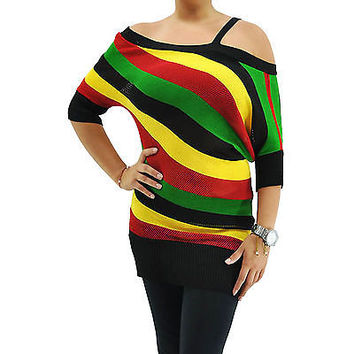 New Sexy Rasta Off Shoulder Jamaica Reggae Party Knit Tunic Top Size S HRA3001