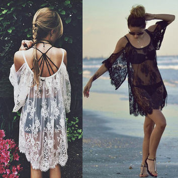 Sexy Hot New Women Beach Wear Swimwear Lace Bikini Off Shoulder Beach Cover Up Summer Mini Dress Tops Two Colors