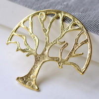 Shiny Gold Large Tree Pendants Charms 47x47mm Set of 10 A8058