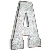 Galvanized Metal Letter/ Large Metal Letters/ 7 or 20 inch letter/Wall Letter/Metal Letter/Wedding Decor/Rustic/Wall Letter/ Shelf Letter