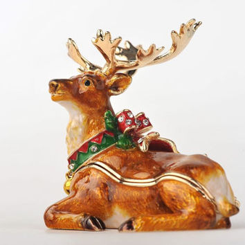Christmas Reindeer Faberge Styled Trinket Box Handmade by Keren Kopal Enamel Painted Decorated with Swarovski Crystals