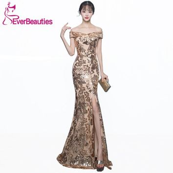 Robe De Soiree Mermaid Evening Gowns Long 2018 Bling Sequin Boat Neck Evening Dress Side Split Wedding Guest Abiye