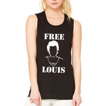 "Louis Tomlinson ""Free Louis Stencil"" Muscle Tee"