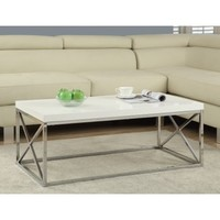 Monarch Coffee Table Glossy White With Chrome Metal - Walmart.com