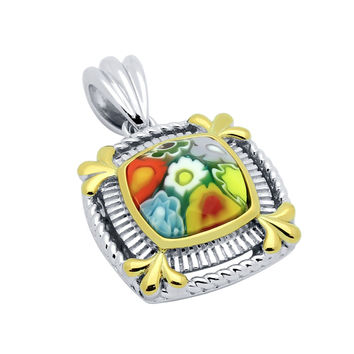 "Sterling Silver Multicolor Glass Murano Millefiori Glass Pendant Square With Gold-Tone Color Highlights (Free 18"" Chain)"