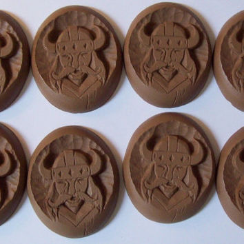 8 Vintage Viking Head Oval Medallions Of Faux Wood For Furniture, Crafts,  Decor