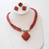 "Jay King Red Coral Set - Triangular Pendant with 17"" Beaded Necklace, Pierced Earrings, Ring Sterling Silver Desert Rose Trading"