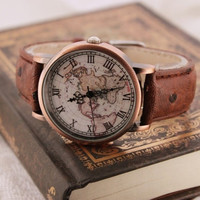 Vintage World Map Pattern Watch for Men Women Christmas Gift + Gift Box