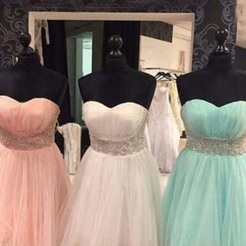 Sweetheart Sleeveless Tulle Beading Bridesmaid Dress/Homecoming Dress