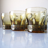 Midcentury Libbey Grecian Key Amber Glass Mugs with Metal Holders, SALE