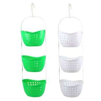 Baby Bathroom Bag Child Bath Toy Plastic Hanging Drain Basket Rack Shower Clothes Organizer Make Up Container Kitchen Space Save