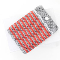 Coral striped Kobo Aura 2 sleeve, Grey Kindle 8 ereader cover, Nook Glowlight case, vegan ebook reader sock, Kindle Oasis pouch, Tolino cozy