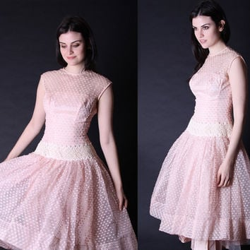 Vintage 1950s Dress - 50s Dress - Blush Pink Wedding Dress - 1950s Wedding Dress  - 2854