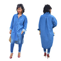 Street Styles High-Low Denim Blouse with Sleeves 22191