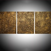 """ARTFINDER: triptych 3 panel wall art """"Golden Ecstacy """" antique impasto effect 3 panel metallic gold effect on canvas wall abstract 54 x 24"""" by Stuart Wright - """" Golden Ecstasy """"  extra large triptych impast..."""