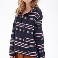FOREVER 21 Striped Poncho Hoodie Navy/Multi