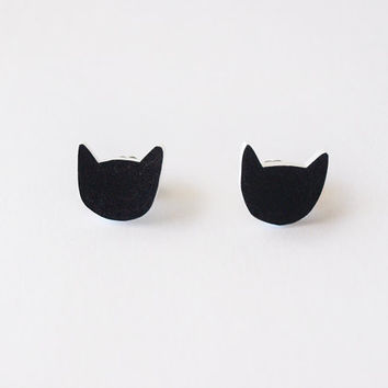 Black Cat Stud Earrings - Made To Order