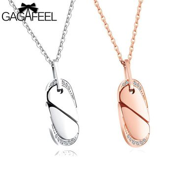 Gagafeel Laser Custom Engrave Logo Creative Rotary Love Heart Couple Necklace Jewelry Stainless Steel Fashion Pairs Pendants