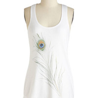 ModCloth Long Racerback Just Keeps Getting Feather Top