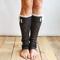 The Lacey Lou Graphite Open-work Leg Warmers w/ ivory knit lace trim & buttons - Legwarmers (item no. 3-23)