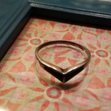 Onyx Gemstone 925 Sterling Silver Vintage 1950s  Chevron Ring Ladies Women's Size 7