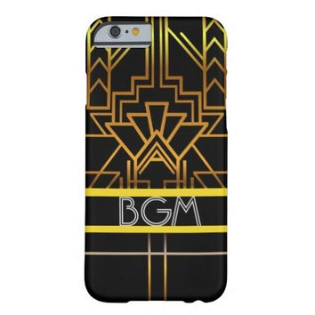 Gold Art Deco Phone Case with Monogram Barely There iPhone 6 Case