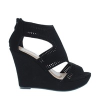 Laser Cut Peep Toe Wedge Sandal (BLACK)