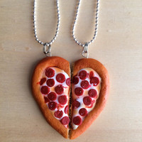BFF Best Friend Half Heart Pizza Necklace Set